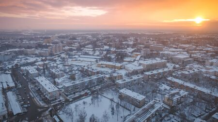 Panorama aerial view on old town of Zhytomyr at sunset in winter