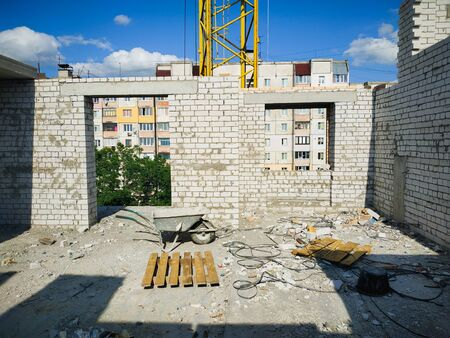 Residential Building Construction Site from the bricks. Interior view Standard-Bild