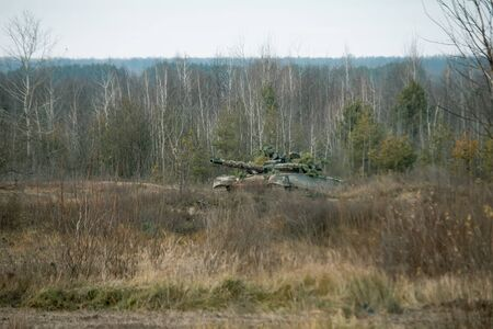 Battle tanks during demonstration performances at the town