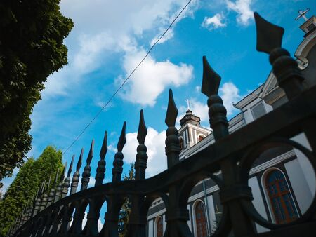 Orthodox church in summer at blue cloudy sky