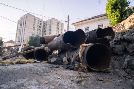 Repair and replacement of city sewer on the street. Zdjęcie Seryjne