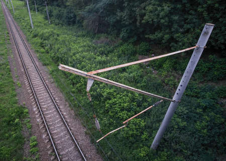 Top view of the electrified railway line.