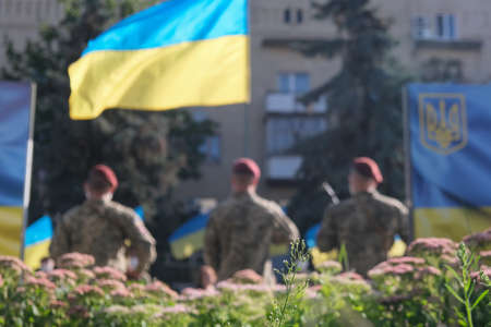 Zhytomyr, Ukraine - August 23, 2020: March of defenders, parade in Zhytomyr with Ukrainian flag, dedicated to the Independence Day of Ukraine, 29th anniversary.
