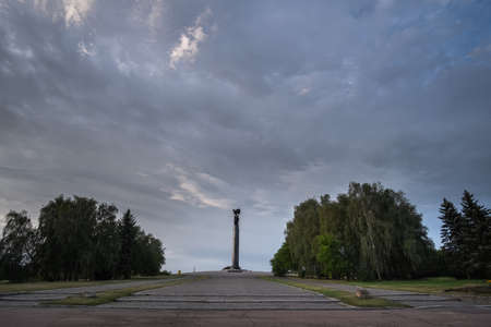 Landscape of Monument of glory in Zhytomyr. Landscape of cloudy sky. Editorial