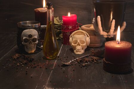potion of natural herbs for black magic Фото со стока