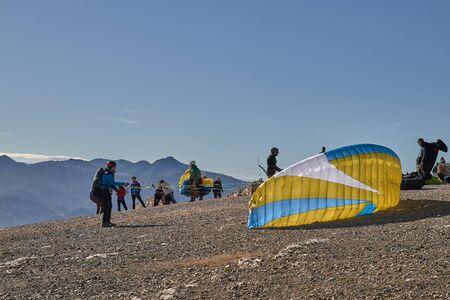 man doing paragliding in Lija Cadiz with blue sky
