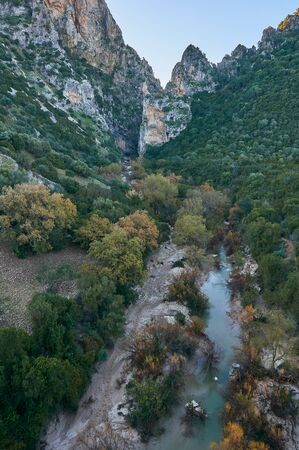 Via verde natural reservoir, vultures and a river