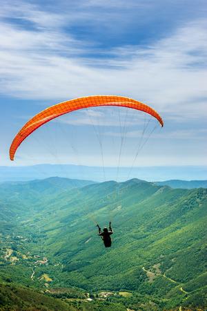 Solo paragliding flight