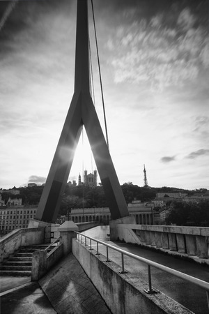 cathedrale: Cathedrale de France fourviere behind the bridge