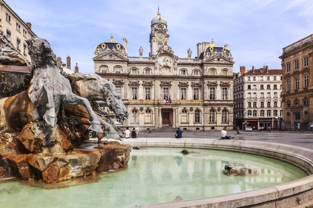 The Bellecour square with fountain in Lyon city France