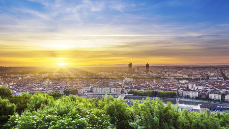 View of Lyon city at sunrise France