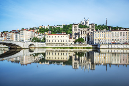 Soane river view with cathedrals and SAINTGEORGES Fourviere in Lyon France Stock Photo