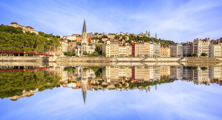 Large panoramic view of Lyon with Saone river Stok Fotoğraf