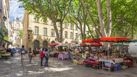 france: Market on a square in Aix en Provence France