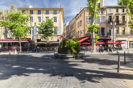 city square: Mossy fountain on the Cours Mirabeau in Aix en Provence France