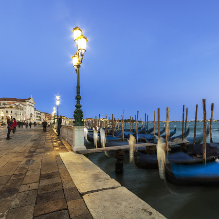 Streetlights on the banks of the square Saint Mark, Venice