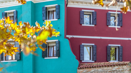 Double colored frontage in Burano, Venice