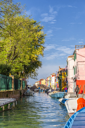 Canal in Burano with bridge, Venice