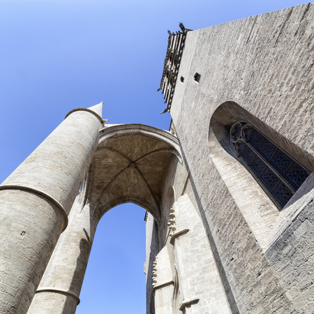 Saint Pierre cathedral in a low angle view in Montpellier, France