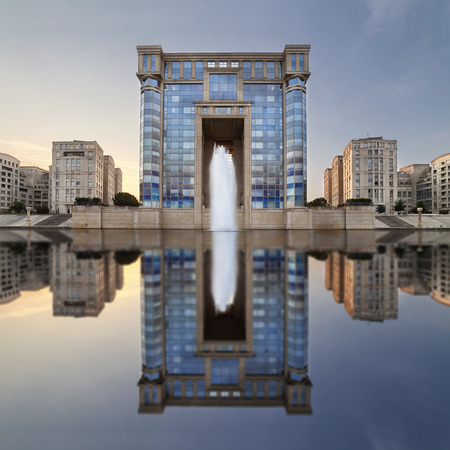 Montpellier Region Hotel with reflection at sunrise, France