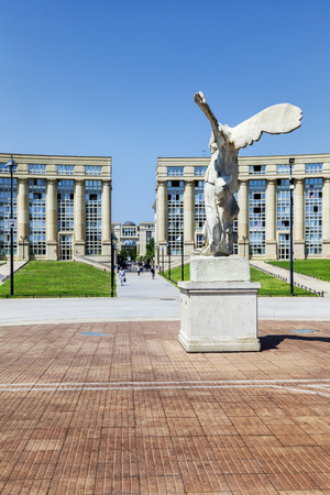 Victory statue of Samothrace in front of Thessalie square in Montpellier, France