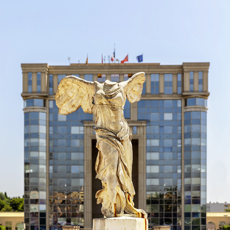 Victory statue of Samothrace under the sun in Montpellier, France