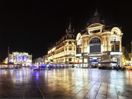 city in the night: Place de la comdie in Montpellier at night, France