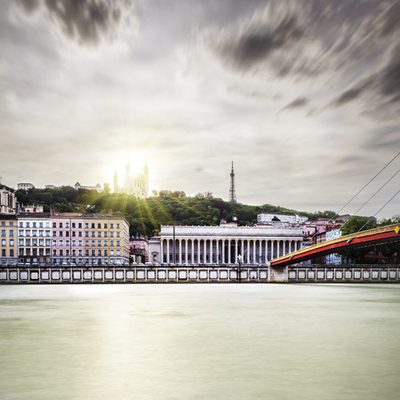 Sunset a little dramatic in Lyon city Stock Photo