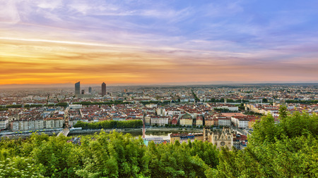 View of Lyon city during sunrise, France Stock Photo