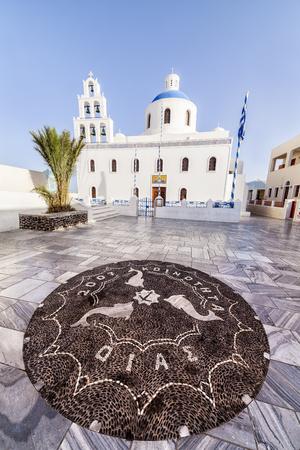 Mosaic in ahead of a church in Oia, Santorini