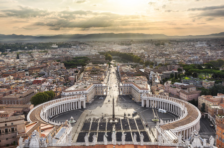 Sunrise over the Vatican with sunbeams, Italy Editorial