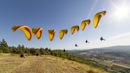Compilation a paragliding takeoff