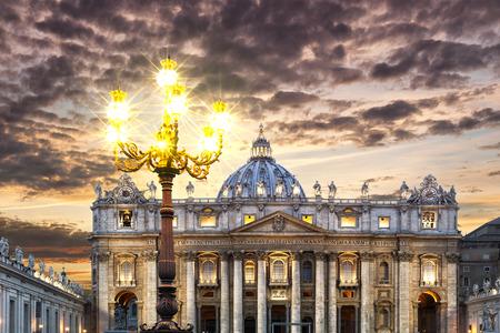 Floor lamp in front of the Basilica Saint Pietro, Rome, Italy