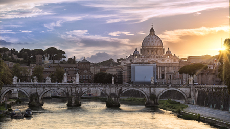 Classic view of the dome of the Vatican at sunset, Rome, Italy