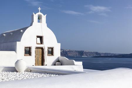 Typical white church in Santorini