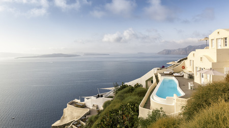 Villa with pool and view of the Caldera Stock Photo