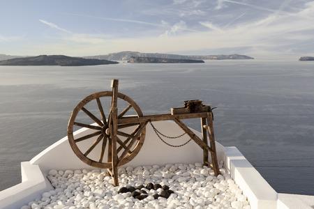 Spinning wheel in Oia, Santorini