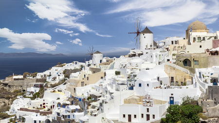 The famous windmills of Oia in Santorini