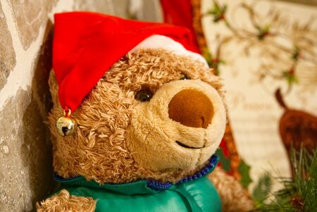 A stuffed bear with a Santa hat. Stok Fotoğraf
