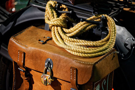 leathern: Travel leathern vintage motorcycle saddlebag with rope