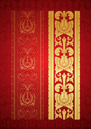 Thai Art, Gold border with north of thailand line floral (Lanna Style)