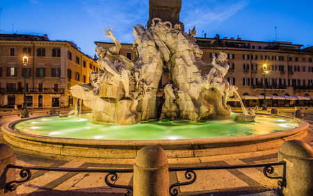 italian fountain: Fountain of the Four Rivers, Piazza Navona, Rome, Italy