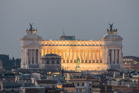 Altar of the Fatherland by night, as seen from the Pincio, Villa Borghese, Italy