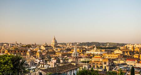 villa borghese: Panoramic view from the Pincio, Villa Borghese, Rome, Italy Stock Photo