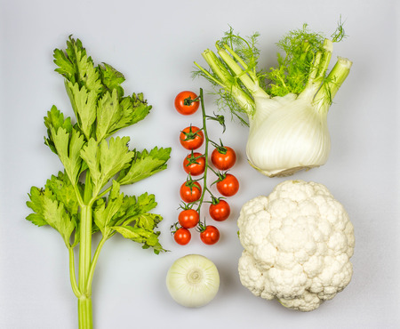 macrobiotic: Fresh mediterranean vegetables insolated on white background