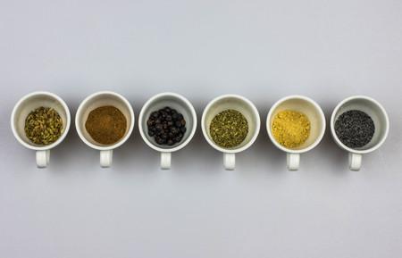 Herbal tea ingredients - fennel seeds, cinnamon, juniper seeds, mallow, ginger, poppy seeds