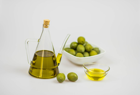 Italian olive oil with giant green olives