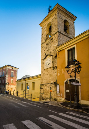 lazio: Alvito, Ciociaria, view of a bell tower in the main street of the town Stock Photo