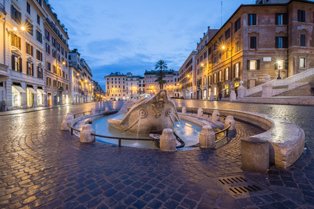 Four Rivers fountain in Piazza di Spagna by night, Rome, Italy