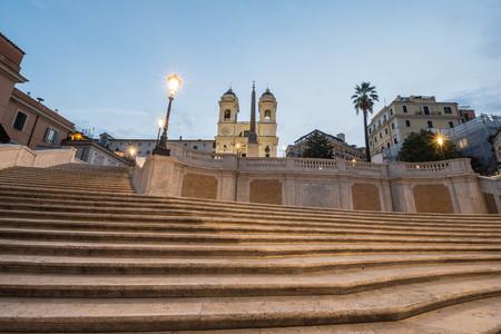 Trinita dei Monti by night, Piazza di Spagna, Rome, Italy